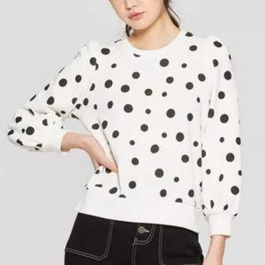 Polka Dot Long Sleeve Puff Shoulder Sweatshirt